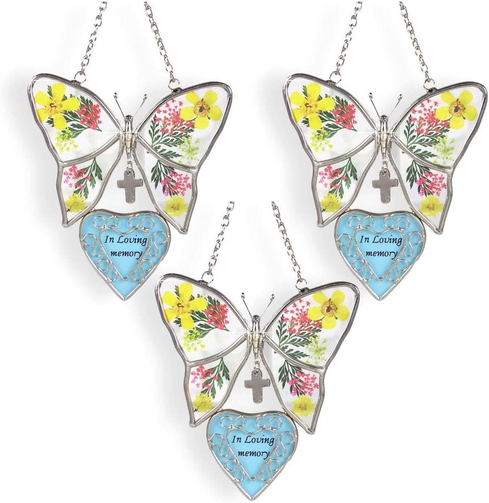 We OFFer at cheap prices BANBERRY DESIGNS in Loving Memory 3 Omaha Mall Butterfly Suncatcher Set of