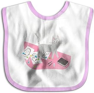 UBCATDESA Studio Cat Baby Bibs, Unisex Baby Soft Cotton Easily Clean Teething Bibs(Blue&Pink)