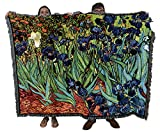 Irises - Vincent Van Gogh - Cotton Woven Blanket Throw - Made in The USA (72x54)