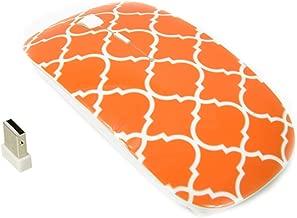 TopCase Quatrefoil/Moroccan Trellis Series Orange USB Optical Wireless Mouse for MacBook (pro, air) and All Laptop + TopCase Designed Chevron Mouse Pad