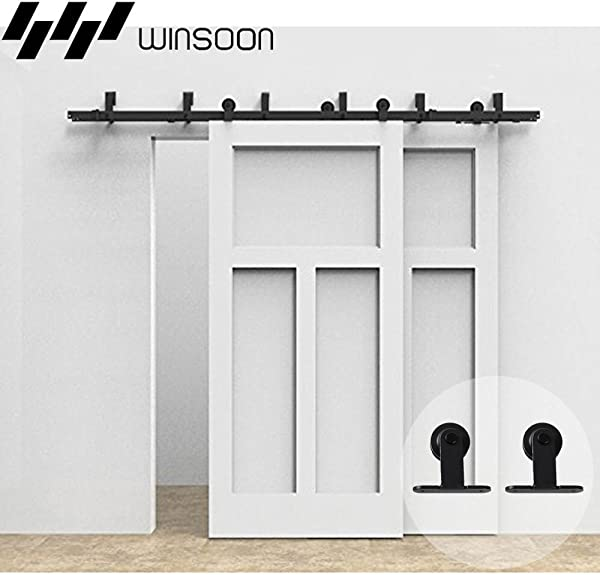 WINSOON T Formed Sliding Bypass Barn Wood Door Hardware 10FT Track Kit 5FT 16FT New Style System Wall Mount Bracket Fit Double Wooden Doors 10FT