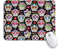 VAMIX マウスパッド 個性的 おしゃれ 柔軟 かわいい ゴム製裏面 ゲーミングマウスパッド PC ノートパソコン オフィス用 デスクマット 滑り止め 耐久性が良い おもしろいパターン (死んだ砂糖の頭蓋骨の日)
