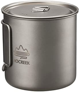 ROCREEK 550ml Titanium Cup Backpacking Pot Camping Hiking Mug Foldable handle with Lid