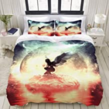 LUBATAGA Duvet Cover Twin Size an Angel in Heaven Land 3pc Bedding Set (1 Duvet Cover and 2 Pillow Shams) 68