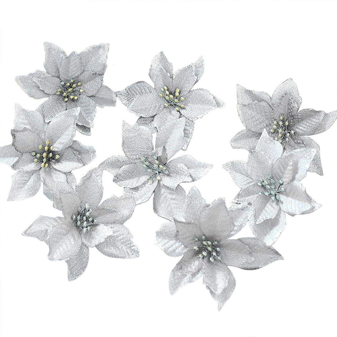 サージ典型的な大理石Shsyue 人工花造花フラワーキラキラDIYオーナメントデコレーションクリスマスツリー飾り用13CM 10個(銀)