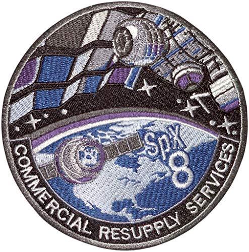 Parche bordado termoadhesivo SpaceX CRS-8, 10 cm