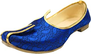 Step n Style Blue Mojari for Indian Mens Tradition Ethnic Jutti and Sherwani Shoes for Wedding