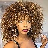 Pelucas sintéticas rizadas Afro para las mujeres negras Peluca rizada rizada rizada...
