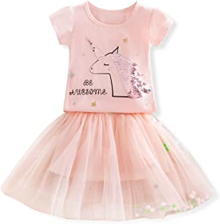 Little Girls Unicorn Dress, 2pcs Unicorn Outfits with Tops Tees & Colorful Rainbow Tutu Skirts