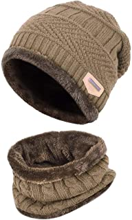 AMAZACER Children's Beanie with Tubular Scarf (Color : Khaki)
