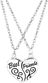 Best Friends Necklace for 2 by Luvalti - Heart Pendant Necklace - Best Friends Gift