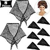 8 Piezas Redecilla de Cabello Redecilla de Malla Negra Redecilla de Triángulo de Algodón Redecilla Ccrochet de Pelo de Dormir Malla de Pelo de Sueño de Mujeres para Rodillos