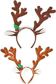 Christmas Reindeer Antlers Headband, 2PCS Cute Deer Headgear Hair Accessory Hat