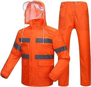 PENGFEI レインコートポンチョ 防水 ジャケット レインパンツ 取り外し可能な帽子庇 通気性のある 衛生作業用ウェア 大人、 2色展開 7サイズ (色 : Orange double layer mesh, サイズ さいず : L l)
