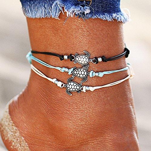 Rune Starfish Vintage Ankle Bracelet Buddha Foot Jewelry Summer Barefoot Women Beach Anklet (3 Turtle)