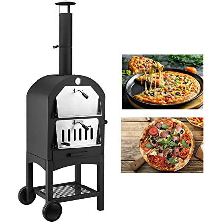 U-MAX Outdoor Pizza Oven Wood Fire with Waterproof Cover, Freestanding, Steel Pizza Grill, Pizza Maker Camping Cooker with Pizza Stone