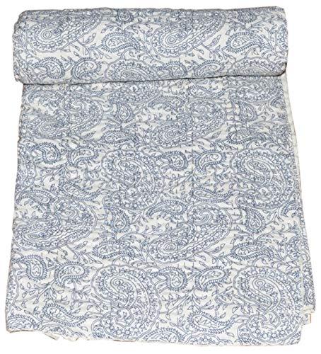 Yuvancrafts indien fait à la main Twin Coton Kantha Couvre-lit imprimé cachemire indien Couvre-lit couverture