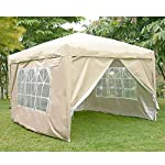 WEIBO Waterproof 2x2m Pop Up Gazebo Party Tent BBQ Canopy Outdoor Awning with Side Walls, Beige