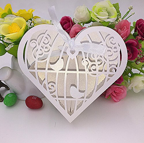 """Joinwin® Pack of 50pcs 4x4x1.3"""" Laser Cut Birdcage Wedding Favor Box candy box gift box,decoration mariage,casamento,wedding favors and gifts"""