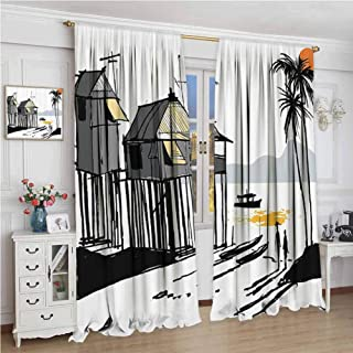 Rod Pocket Drapes and Curtain W72 x L72 Inch,Blackout Curtains for Bedroom,Coastal Decor,Sketchy Fishing Village Malay in Singapore with Houses Canoe Palms Sun,Black Grey Orange