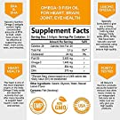 Omega-3 Fish Oil Supplement, Triple Strength 2400mg High EPA and DHA, Made in USA, Natural Heart Support and Brain Support for Men and Women, Non-GMO, Lemon Flavor - 60 Softgels #1