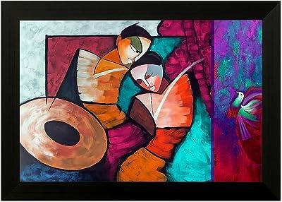 SAF Radha Krishna 6349 Modern Art UV Textured Framed Art Print (35 x 50 x 2 cms) SANFMA6349