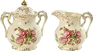 YOLIFE Sugar and Creamer Bowl Ceramic Set with Red Rose Pattern Golden Leaves Edge
