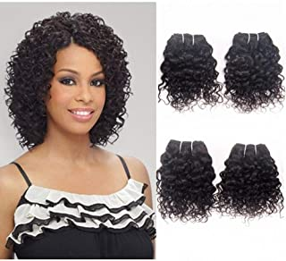 Brazilian Curly Human Hair Weave 4 Bundles Jerry Curl Virgin Unprocessed Cheap Remy Hair Extensions 8A Grade Natural Black Color 10 Inch 50g/Bundle
