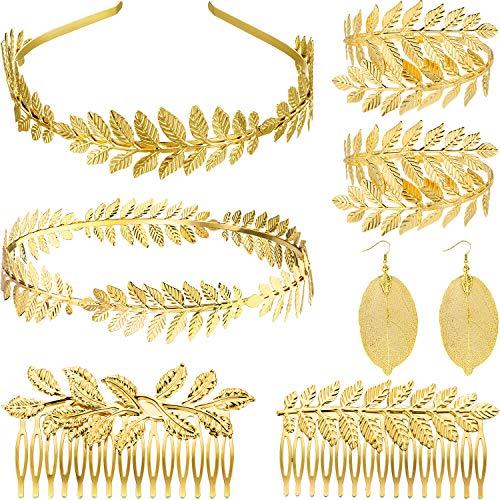 8 Stück Griechisch Göttin Stirnband Krone Kostüm Haarschmuck Römisch Lorbeer Armband, Gold Blatt Stirnband Kopf Kranz Braut Haar Krone, Griechische Haarkamm, Blatt Tropfen Ohrringe