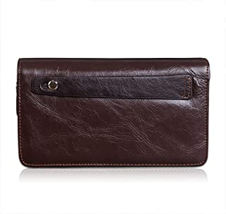 Ketteb Men`s Wallet Minimalist Vintage Cowhide Leather Wallet with 2 Zipper Pockets for Men