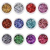 Purpurinas Polvo 12 Colores Maquillaje Glitter para Cara Pelo Arte Corporal Uñas para el Festival de Música Fiesta Navidad