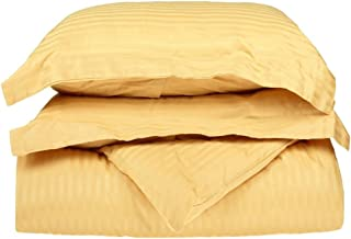 100% Premium Combed Cotton 300 Thread Count Twin 2-Piece Duvet Cover Set Stripe, Gold