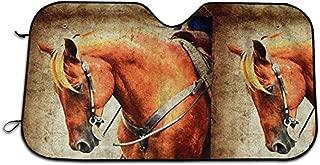 New and Upgraded Version Western Horse Grunge Parasol De Protecci¨n Solar para Parabrisas Del Auto, Ajuste Universal Mant¨¦n Tu Veh¨ªculo Fresco. Reflector De Calor UV 70X130cm