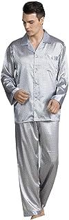 Mens Satin Pyjamas Set Long Sleeve Lingerie Printing Nightwear Sleepwear Button Down Top & Pants Lightweight Loungwear Set...
