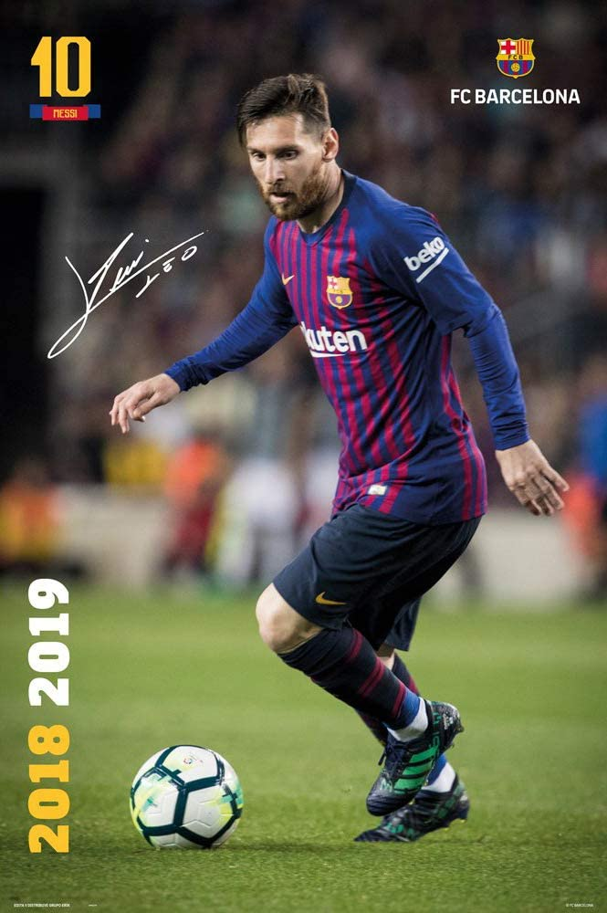 Amazon Com Fc Barcelona Soccer Sports Poster Print Lionel Messi In Action Season 2018 2019 Size 24 Inches X 36 Inches Home Kitchen