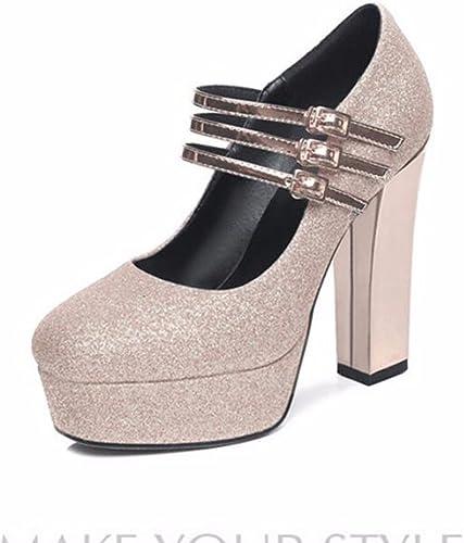 HBDLH Chaussures étanches en Cristal Seule Plate - Forme épaisse Talon 12 Cm De Talons Hauts Chaussures Marche Mariée des Chaussures De Femme.