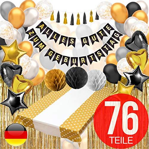 LVAP Party Deko in Schwarz und Gold mit Happy Birthday Girlande – Geburtstag Deko, Luftballons Gold und Schwarz, Lametta Vorhänge, Tischdecke Gold und Schwarz und mehr.