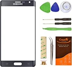 For Samsung Galaxy Note Edge Front Outer Screen Lens Glass Replacement,CrazyFire Glass Lens Replacement Repair Kit for Samsung Galaxy Note Edge N915A N915G N915P N915T N915V(Black)