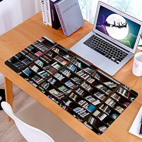 Gaming Mouse Mat Extended Mousepad Desk Mats withVintage Realistic Book Shelf Read Book Worm Theme, Improved Precision and Speed Designed