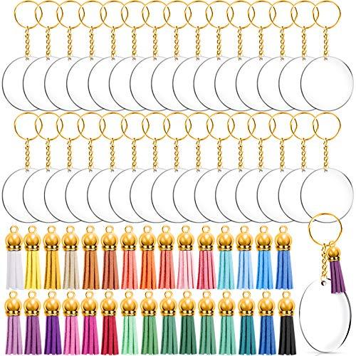 Duufin 120 Piezas Discos Acrílicos Llavero Kit con Discos Acrilicos Transparentes, Anilla de Llavero, Anillas Abiertas, Colgantes de Borlas de Cuero para Clave Cadena DIY Accesorios