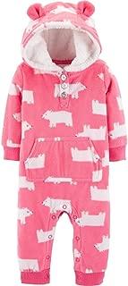 Carter's Baby Girls' Hooded Fleece Jumpsuit (Pink/Polar Bear, 18 Months)
