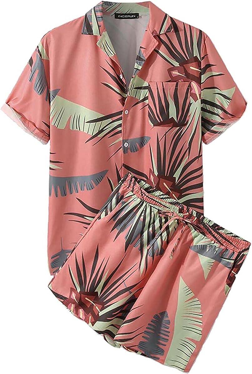 ZKomoL Men's Hawaiian Short Sleeve Shirt Suits with Pockets Summer Button Shirt Beach Shirts Suits 2 Pieces