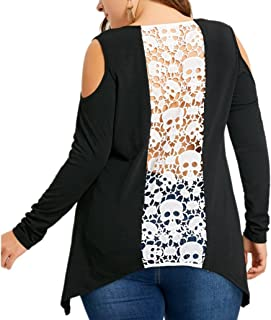 Backless Skull Lace Decor Plus Size Blouse for Womens, Off Shoulder Oversize T-Shirt Tops