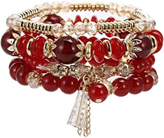 Boho Bead Stackable Bracelets for Women - Vintage Multi Layer Colorful Beads Bracelets Bohemian Anklets Charm Birthstone Yoga Chain Stretch Beach Bangle