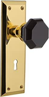 Nostalgic Warehouse 726399 New York Plate Interior Mortise Waldorf Black Door Knob in Unlaquered Brass, 2.25 with Keyhole