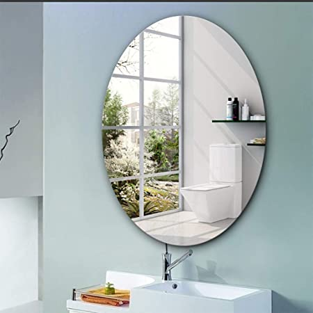 Amazon Com Frameless Oval Bathroom Acrylic Mirror Over Vanity Lightweight Vanity Mirror Wall Mounted Bathroom Mirror Dressing Table Mirror Stylish Home Kitchen