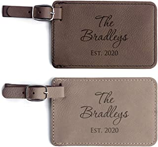 Personalized Wedding Luggage Tags Pair - Vegan Leather Wedding Bag Tags Newlyweds (Light Brown & Dark Brown)
