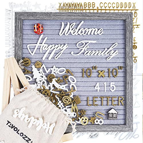 Felt Letter Board with Stand, TAVOLOZZA 10 x 10inch Wooden Frame Changeable Message Board with White & Gold Letters, Emojis, Script Cursive Words, 2 Cute Decorations, Wood Easel Stand, Scissor