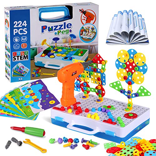 Haifeng 224 - Taladro eléctrico para niños, destornillador y tuerca, juego de herramientas, bloques de Mosaico creativos, regalo para niños y niñas de más de 3 años