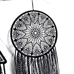 DUGYIRS 2 Pieces Black Dream Catcher Handmade Crochet Evil Eye Design with Lace Triangle Round Dream Catchers Gothic Wall Art Decorations Hanging for Home Ornament Christmas Festival Gift #1